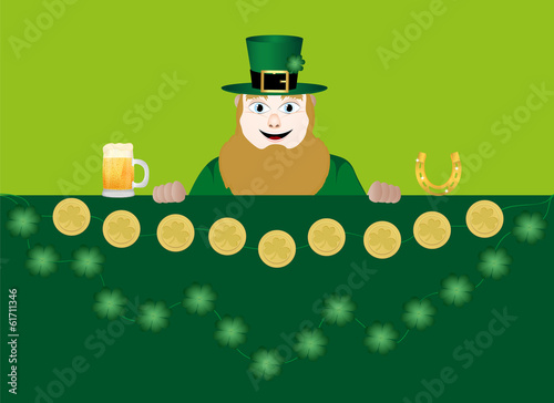 leprechaun with beer, a horseshoe, clover and coins