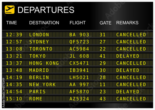 canvas print picture Flights departures board isolated on white background