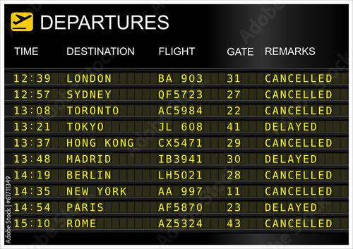 Leinwanddruck Bild Flights departures board isolated on white background