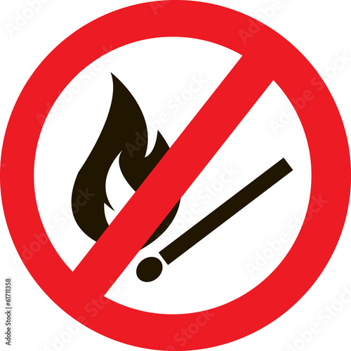 prohibited sign with a burning match