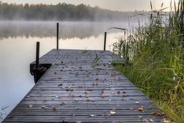 Small wooden pier on a lake