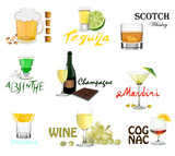 Set of alcohol labels