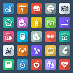 flat fitness & health iconset colorful