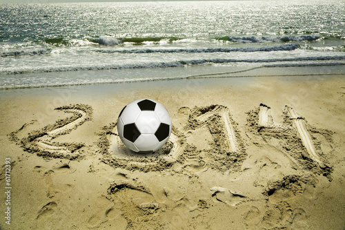 2014, soccer ball on the beach
