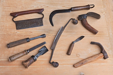 old wood carving tools