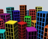 Colorful city blocks