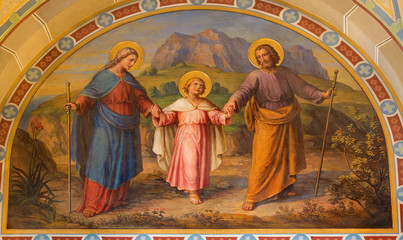 Vienna - Fresco of Holy Family in Carmelites church