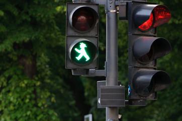 Green man figure traffic lights on Berlin