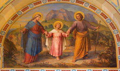 Vienna - Fresco of Holy Family in Carmelites church