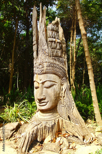 Wooden statue of Buddha.
