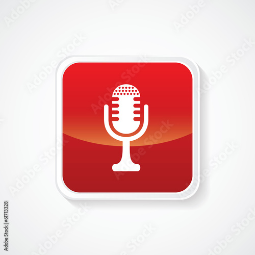 Very Useful Icon of Microphone on Red Button. Eps.-10.