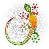 Gecko Floral Tribal Art
