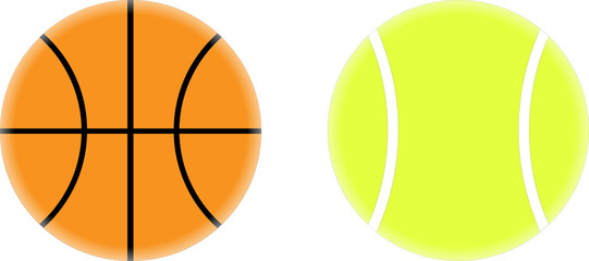 Basketball and Tennis Ball Vector Drawing - eps8 compatible
