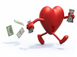 heart with arms and legs run away with money