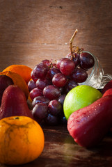 Still life fruit on the wooden table