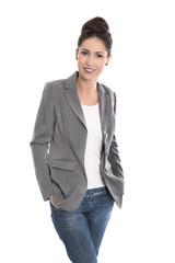 Erfolgreiche junge Business Frau - lachend isoliert