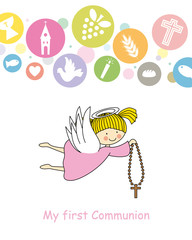 first communion card. Angel
