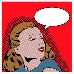 Illustration of a woman in a pop art/comic style
