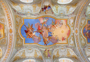 Vienna -  fresco on the ceiling of baroque st. Annes churc