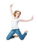 happy girl jumping isolated on white