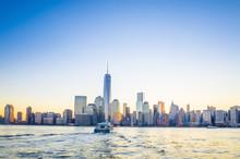 Skyline de Manhattan inférieure de New York City de Exchange Place