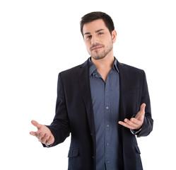 Business Mann isoliert hält einen Vortrag: Körpersprache
