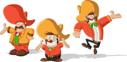 Three cartoon mexican mariachis with sombrero