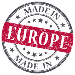 made in Europe red grungy vintage round stamp