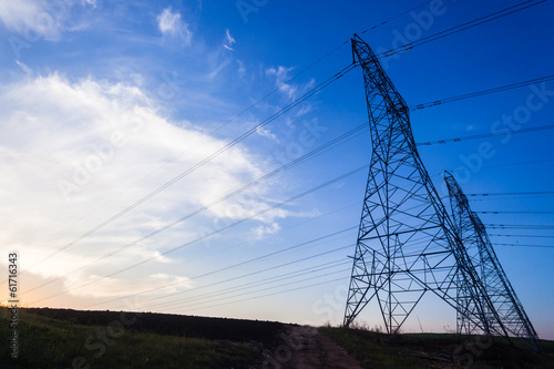 Electrical Tower Pylons Blue Silhouettes