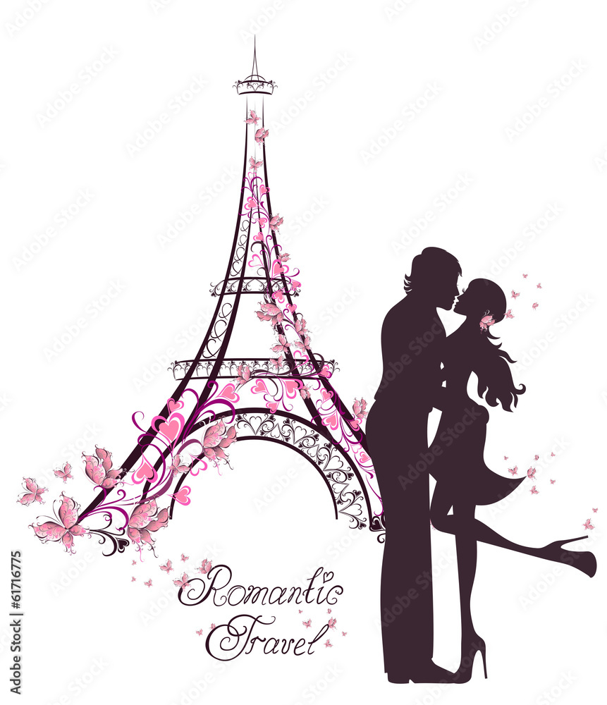 Honeymoon and romantic travel couple in paris eiffel tower wall honeymoon and romantic travel couple in paris eiffel tower wall sticker amipublicfo Images