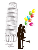 Romantic Travel. Couple in front of Pisa leaning tower, Italy