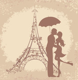 Honeymoon and Romantic Travel. Couple in Paris, Eiffel Tower