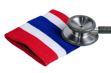 Medical stethoscope and Thailand flag symbol.