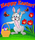 rabbit with Easter eggs in the basket cartoon with flowers and