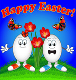 Easter eggs cartoon with flowers and butterflies