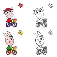 Coniglietta e Capretta in bicicletta