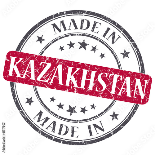 made in KAZAKHSTAN red grunge stamp isolated on white background