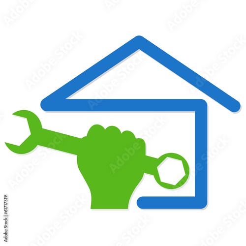symbol vector for home renovation, hand and spanner