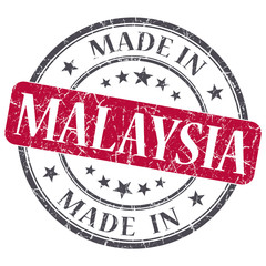 made in MALAYSIA red grunge stamp isolated on white