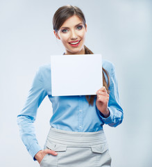 Business woman hold banner, white background  portrait. Female