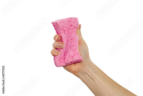 hand with sponge on a white background