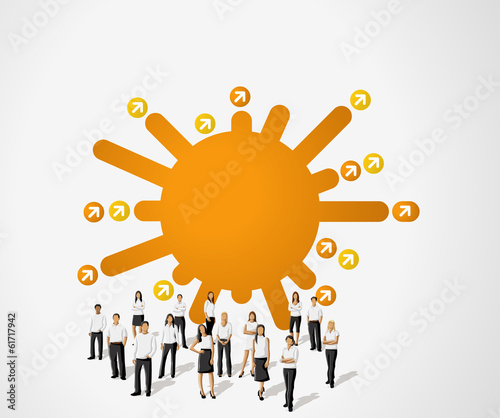 Orange template for brochure with business people