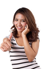 woman giving thumb up with her cellular phone