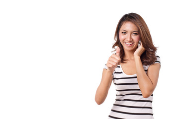 happy, smiling woman giving thumb up with her cellular phone