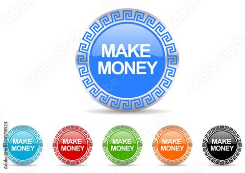 make money vector icon set