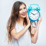 Young smiling woman hold watch. Beautiful smiling girl portrait