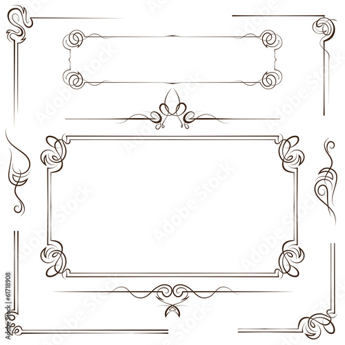 Vintage set vector frame and border