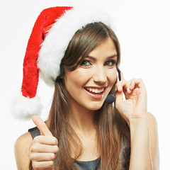 Operator call center woman , christmas Santa hat .