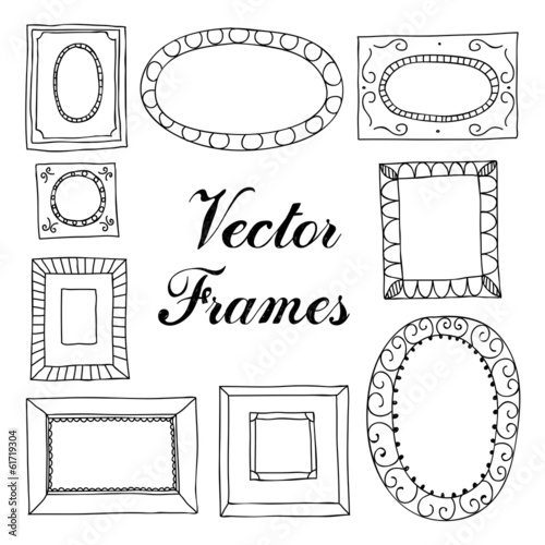 Retro vintage hand drawing vector frames