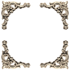 silver colored elements of baroque carved frame